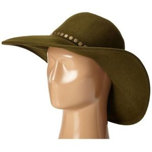 BCBGMaxazria Dusty Olive Wool Nail Floppy Hat OS